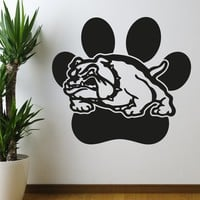School Mascot Bulldog with Paw Print Wall Decal. #OS_AA619