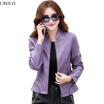 4XL 5XL Autumn Women leather Clothing Motorcycle Slim Korean leather jacket Plus Size Fashion Casual Ladies jackets And Coats