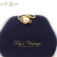 Antique Ladies Vintage 10K Gold//Cultured Pearl Ring//Size 7 Engagement Ring