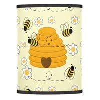 Honey Bumblebee Hive Yellow Daisy Floral Flower Lamp Shade