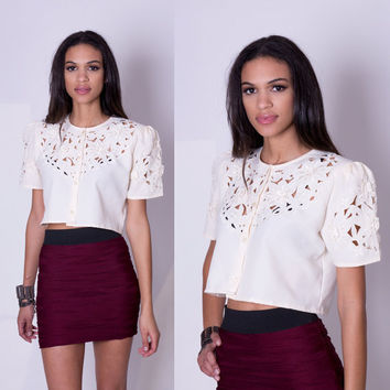 LPM Redesigned Vintage Crop Top Cream Lace Cut by La Petite Marmoset