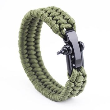 Kinetic Adjustable Paracord Survival Braided Rope Bracelet for Men's by Ritzy