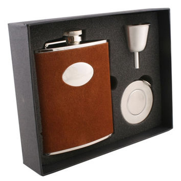 Visol Cowboy Brown Leather Stellar Hip Flask Gift Set - 6 oz
