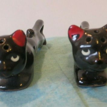 "Vintage Japan 5"" Long Black Slender Cats Salt & Pepper Shakers  with Cork plugs"