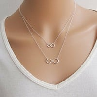 Lucky number eight double necklace 15010141 by CHIQ CLUB
