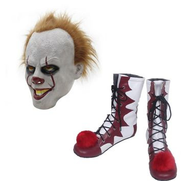 Hot sale Stephen King's It Pennywise Cosplay Shoes and Mask  Horrible Clown Boots Custom Halloween Christmas Accessories