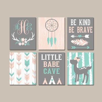 Girl Tribal Nursery Art, Boho Woodland Wall Art, Dream Catcher Deer Arrows, Little Babe Cave, Be Kind Be Brave, CANVAS or Prints, Set of 6