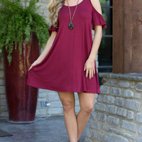 Women's Cold Shoulder Wine/Burgundy Butterfly Ruffle Sleeve Casual Shift Dress