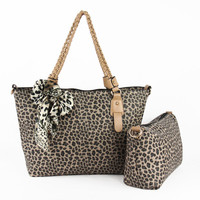 Rotro Leopard Print Mother and Child Handbag