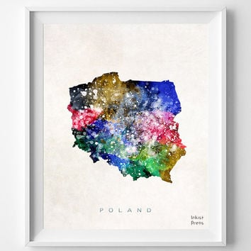 Poland Map, Watercolor, Home Town, Poster, art, Warsaw, Country, Wall Decor, Nursery, Painting, Bedroom, Living Room, world map [NO 449]