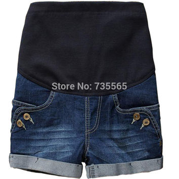 HOT Selling Summer Maternity Clothing Jeans Shorts Fashion Button Denim Shorts Pregnant Clothing Wear #k076