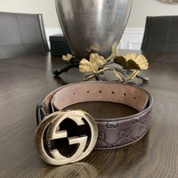 GUCCI DARK BROWN GUCCISSIMA LEATHER GG BUCKLE BELT 80/34