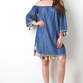 Chambray Bardot Neon Tassel Shift Dress