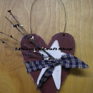 Patriotic Red White and Bue Heart Hanger, Wood Americana Heart & Star Accent