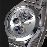 OUYAWEI Silver Skeleton Analog Mens Mechanical Automatic Self Winding Stainless Steel Band Wrist Watch