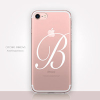 Monogram Clear Phone Case - Transparent Case - Clear iPhone 8 - iPhone 7 Plus - iPhone 7 - iPhone X - Catching Rainbows - CRCases
