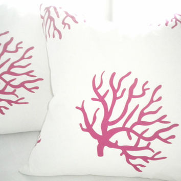 Designer pillow cover - White and hot pink coral plillow 18 inch square - Accent pillow cover