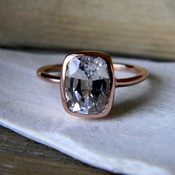 White Sapphire RIng Rose Gold Engagement Ring by onegarnetgirl