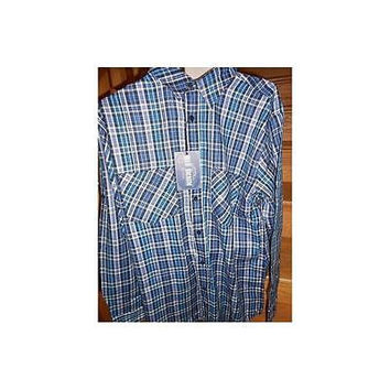 Blu Denim Men's Long Sleeve Plaid Button Down Shirt, X-Large, Blue/Teal Plaid