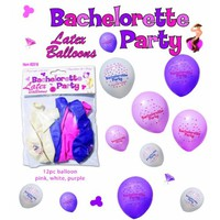 Bachelorette Party Latex Balloons Assorted Colors  Pack Of 12