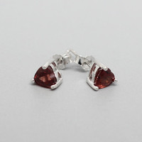 Garnet Sterling Silver Earrings, Silver Garnet Stud, January Birthstone, Anniversary, Birthdays, Wedding, Valentine Gift, Special Occasions