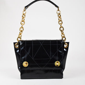 Lanvin Black Quilted High Gloss Leather Multi Compartment Shoulder Bag,Most Wished new Urban bag