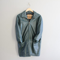 Spruce Green Leather Jacket Genuine Leather Jacket Zip Up Leather Parka Green Coat Minimalist 80s 90s Vintage  Size M - L