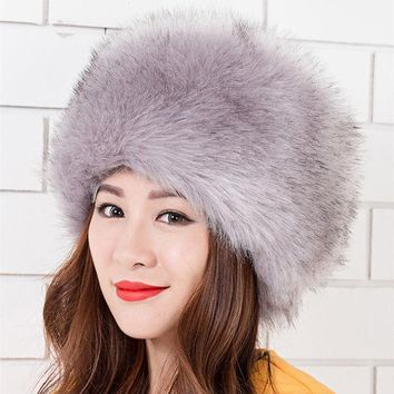 2016  Winter Hats For Women New Fashion Women Lady Faux Fox Fur Cossack Style Russian Winter Hats Warm Cap Wx0014