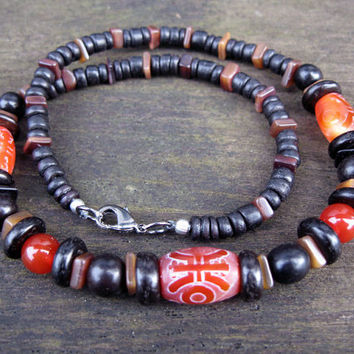 Short necklace, natural materials, for men or women, beads made from, agate, wood, shell, seeds, one of a kind, tribal or surfer style