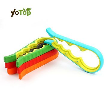 YOTOP 4 in 1 Handy Anti-slip Plastic+Rubber Bottle Opener Can Lid Screw Opener for Pop/Beer Bottle Jar Grip Wrench Kitchen Tools