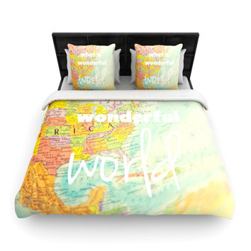 "Libertad Leal ""What a Wonderful World"" Map Woven Duvet Cover"