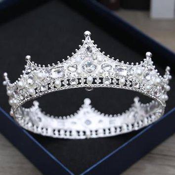 Snuoy Vintage Baroque Queen For Women Crown King Tiara Medieval Retro Copper Silver Man Crowns Pageant Wedding Hair Accessories