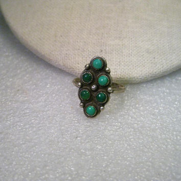 Vintage Sterling Silver Southwestern Turquoise Snake-Eyes Ring, 1960-1970's,  size 9.5, 5.24 grams