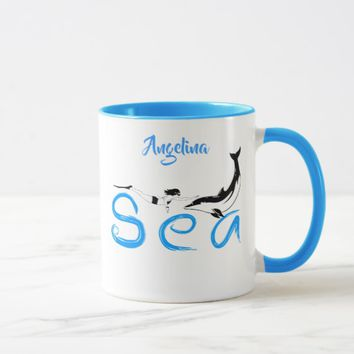 Girl, Dolphin, Sea funny elegant customizable Mug