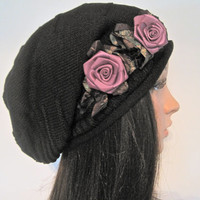 Black Knit Slouch Beanie Winter Hat with Adorable Lavender Ribbon Rose Accent