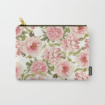 old fashioned peonies Carry-All Pouch by Sylvia Cook Photography