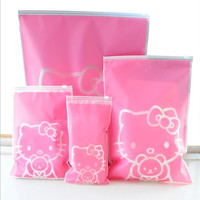 5 Pcs Set Hello Kitty Travel Storage Bags Organizer For Clothe Shoes Underwear Socks.