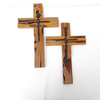 Rustic Wooden Cross / Pecky Cypress Wood Crucifix / Religious Art / Reclaimed Wood Wall Hanging - Funeral Gift