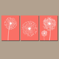 DANDELION Wall Art Flower Artwork Coral Custom Colors Modern Nursery Set of 3 Prints Decor Bedroom Bathroom Dorm Three