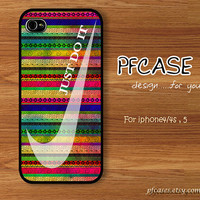 White nike with aztec Pattern : Handmade Case for Iphone 4/4s , Iphone 5 Case Iphone
