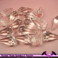 BIG CLEAR DROPS Faceted Transparent Acrylic Beads / Charms 47x22mm ( 2 pieces )