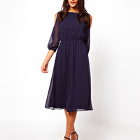 Blue Sleeve Cutout-Shoulder Chiffon Midi Dress