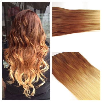 "Ombre Hair Extension READY to SHIP Golden Brown Ombre Hair - Ombre Clip In Hair Extension - 22"" light Ash Brown to Blonde Clip in Hair"