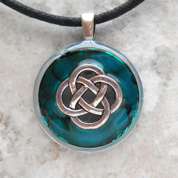 celtic knot necklace: teal - womens jewelry - womens necklace - celtic jewelry - mothers day - irish jewelry - unique gift - endless knot