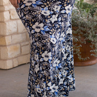 Feelin' Floral Print Maxi Skirt ~ Navy ~ Sizes 12-20