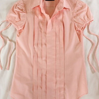 "~~~ SPRING-READY! ~~~ DSQUARED2 PINK COTTON ""PINTUCKED"" SLEEVE TIE SHIRT ~ 38"