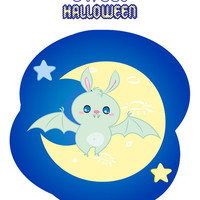 """Halloween Nursery Instant Download Printable art cute sweet boy candy bat in the night sky next to moon and stars """"Candy Bat"""""""