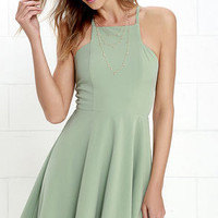 Call to Charms Sage Green Skater Dress
