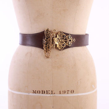 Vintage 40s BELT / 1940s Novelty Hinge Hinged LOCK Brown Leather Statement Belt xs - s