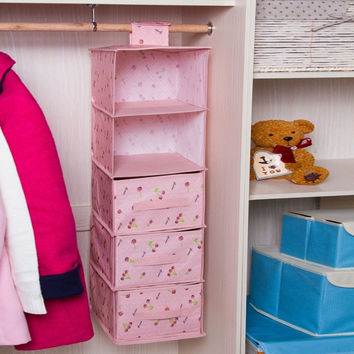 Non-Woven Fabrics Wardrobe Hanging Storage Bag Drawer Clothing Underwear Storage Box Barrels Kids To